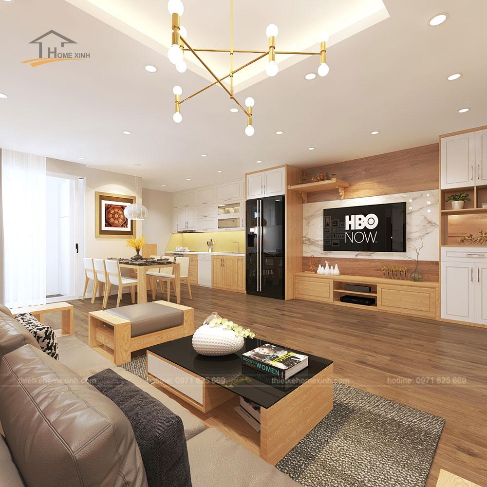 Thiết kế phòng khách liền bếp hiện đại mang đến không gian thông thoáng, rộng rãi.