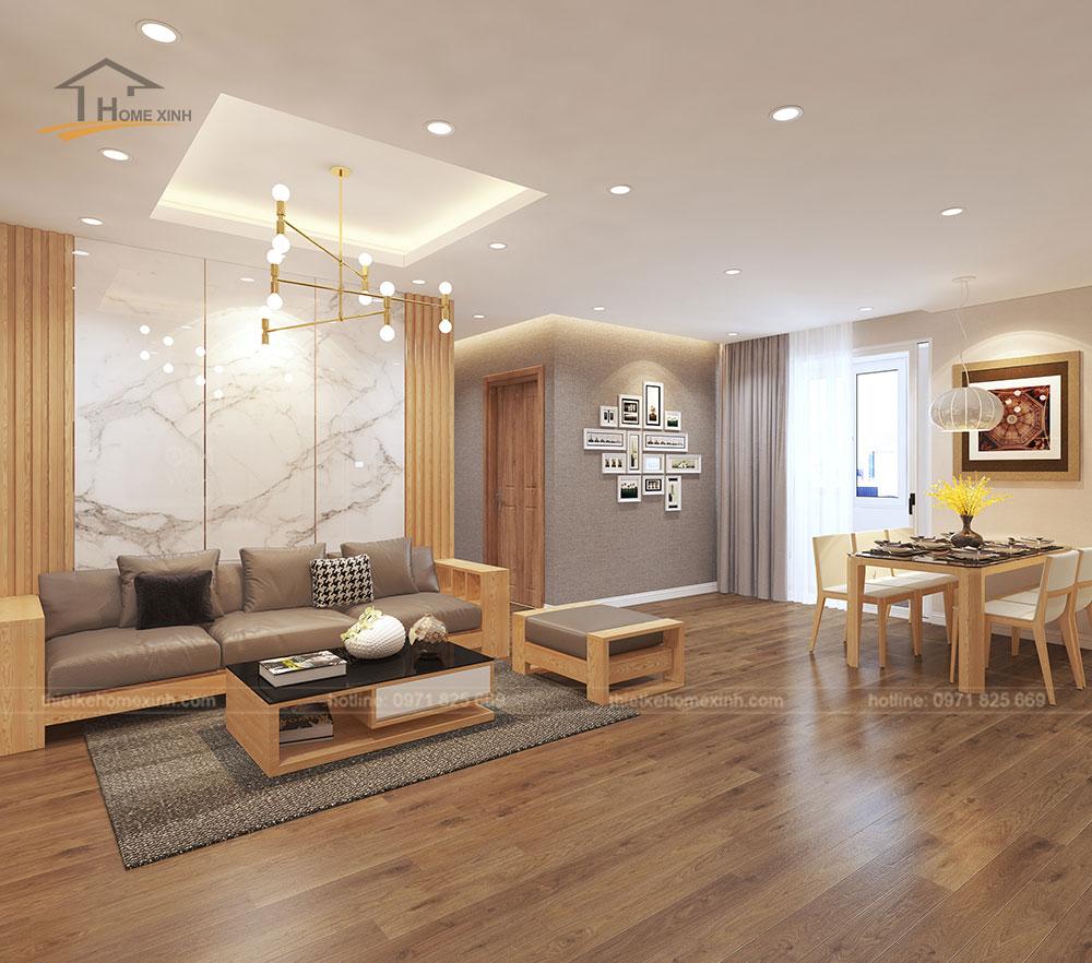 Bộ ghế sofa phòng khách căn hộ chung cư CT3 Trung Văn được làm từ chất liệu gỗ sồi Nga