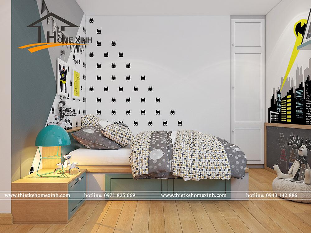 Phòng ngủ bé được thiết kế thông minh giúp tiết kiệm diện tích
