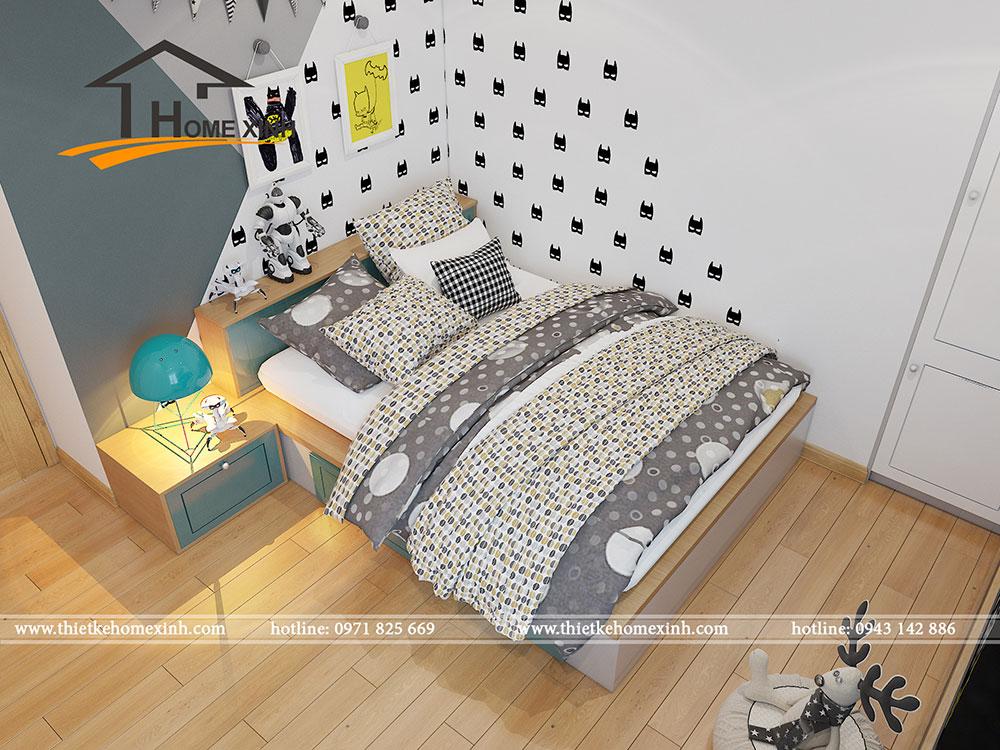 Phòng ngủ bé trai được trang trí bởi những hình vẽ, đồ chơi liên quan đến siêu nhân
