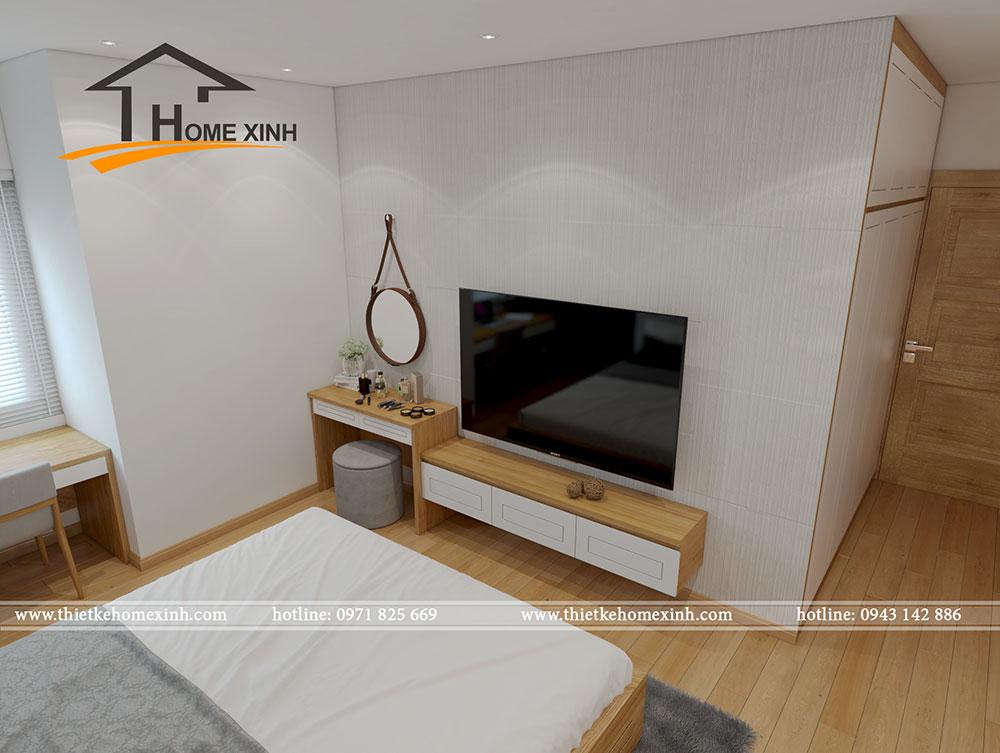 Thiết kế phòng ngủ master căn hộ chung cư tại CT3 Trung Văn đầy đủ tiện nghi.