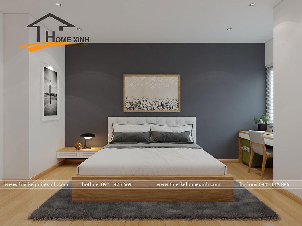 Thiết kế phòng ngủ master căn hộ chung cư tại CT3 Trung Văn với màu sắc trẻ trung