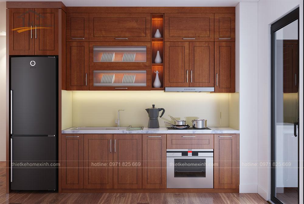 Tủ bếp màu nâu tại căn hộ flc 418 Quang trung