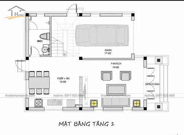 Bản vẽ tầng 1 thiết kế nhà phố mặt tiền 8m