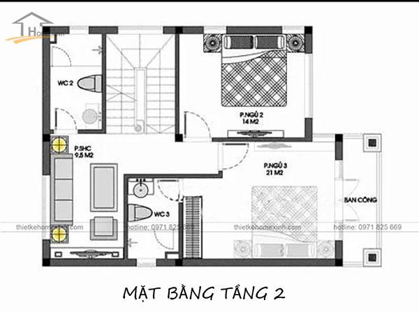 Bản vẽ tầng 2 thiết kế nhà phố mặt tiền 8m