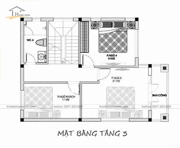 Bản vẽ tầng 3 thiết kế nhà phố mặt tiền 8m