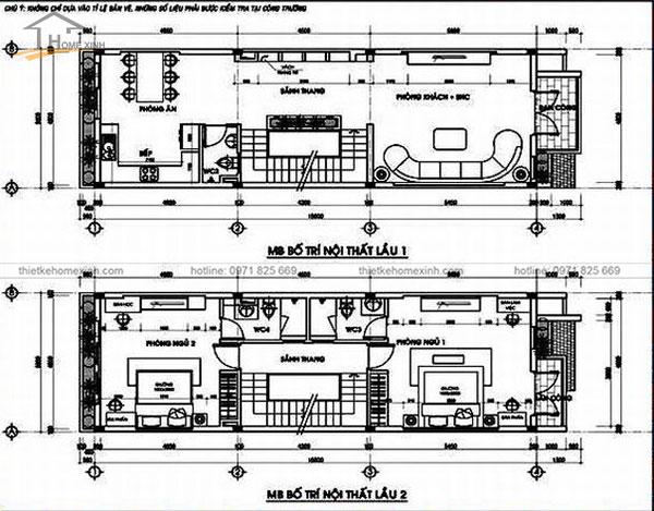 Bản vẽ thiết kế nhà ống mặt tiền 4m