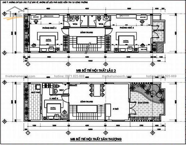 Bản vẽ thiết kế nhà ống mặt tiền 4m 2