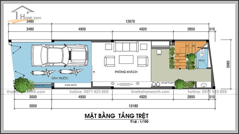 Bản vẽ thiết kế nhà phố 4x13m tầng trệt