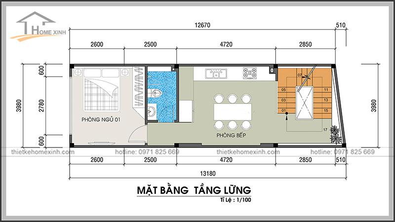 Bản vẽ thiết kế kiến trúc nhà phố 4x13m tầng lửng
