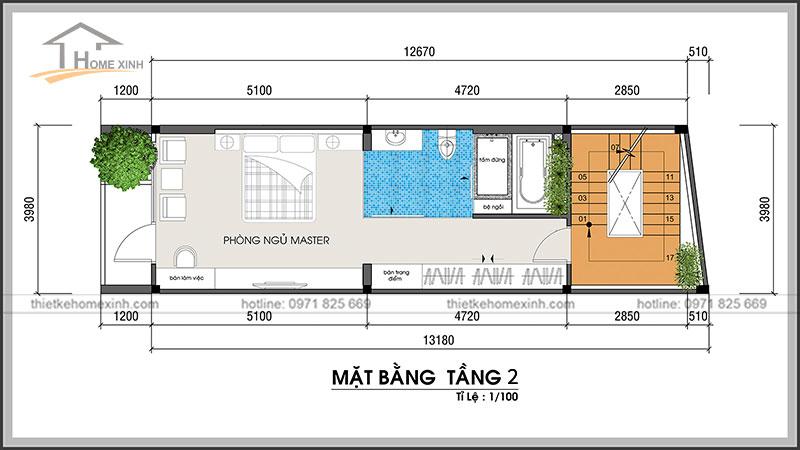 Bản vẽ thiết kế kiến trúc nhà phố 4x13m tầng 2