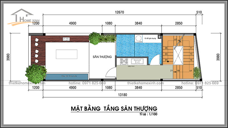 Bản vẽ thiết kế kiến trúc nhà phố 4x13m khu vực sân thượng