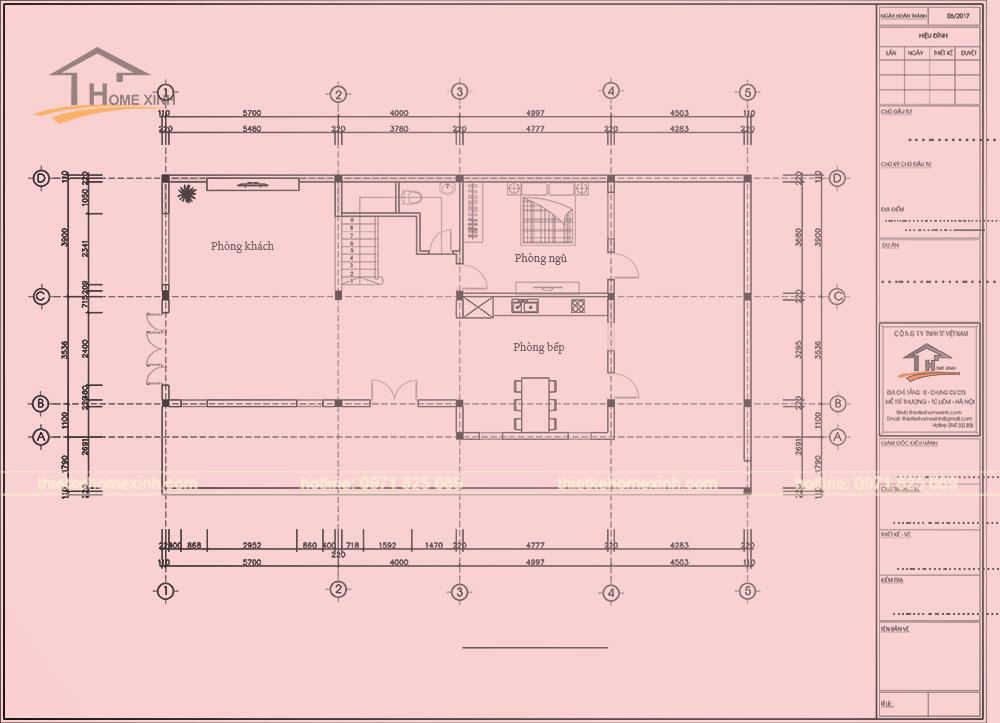 Bản vẽ thiết kế nội thất tầng 1 nhà phố anh Lân tại Bắc Ninh