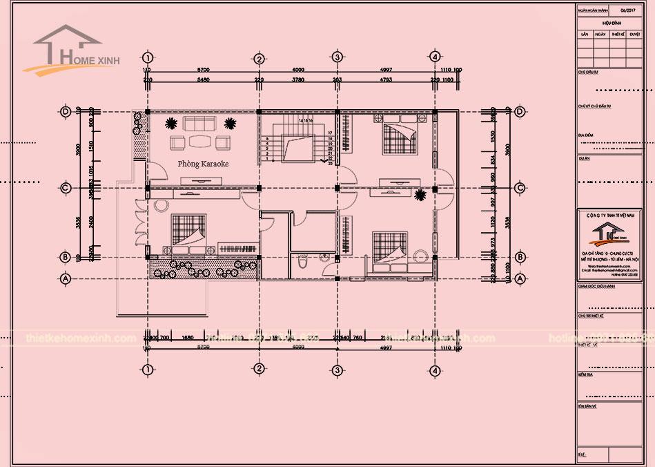 Bản vẽ thiết kế nội thất tầng 2 nhà phố anh Lân tại Bắc Ninh
