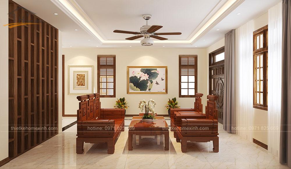 Chất liệu gỗ tự nhiên được dùng cho bàn ghế phòng khách
