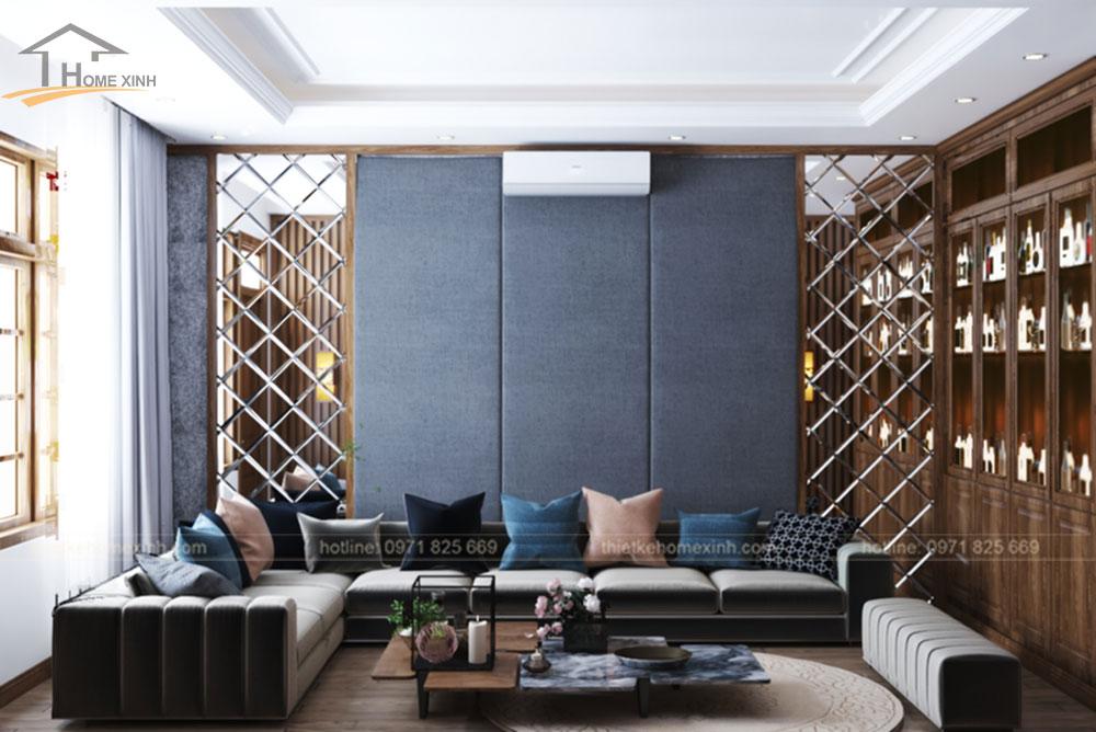 Bộ ghế sofa xếp theo hình chữ U trong phòng Karaoke