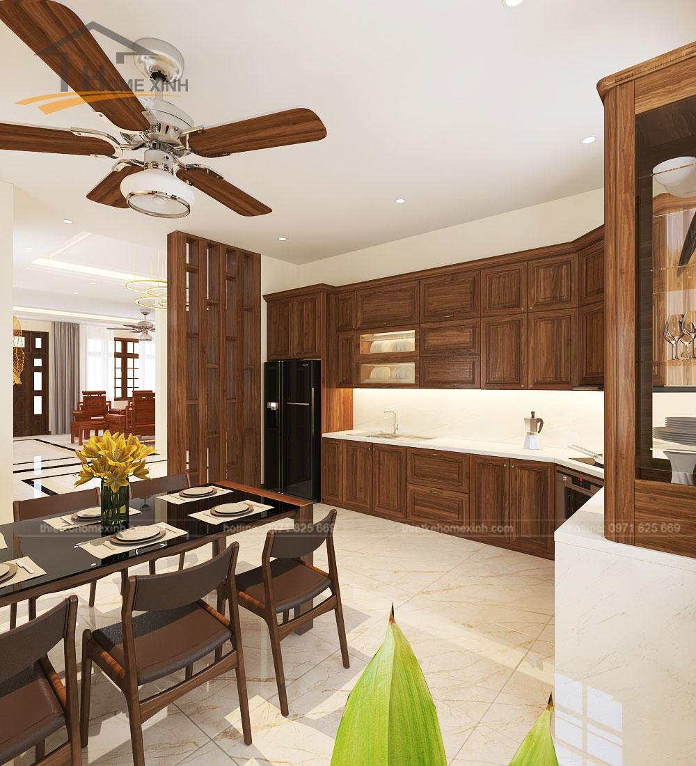 Không gian bếp đầy đủ tiện nghi