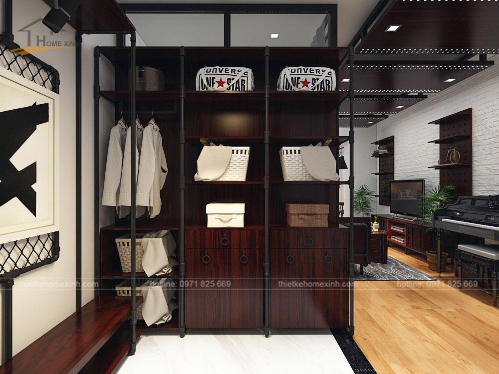 Tủ giày lớn được kết hợp các ngăn để đồ