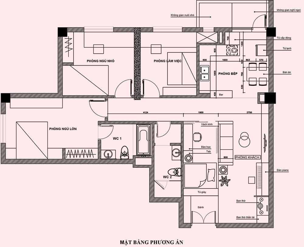 Mặt bằng thiết kế nội thất căn hộ chung cư