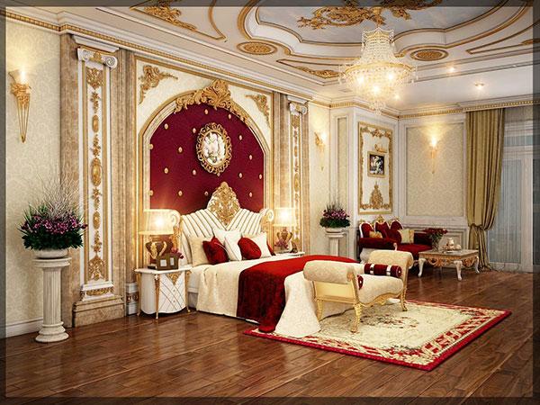 Nội thất phòng ngủ tân cổ điển sang trọng với màu sắc rực rỡ