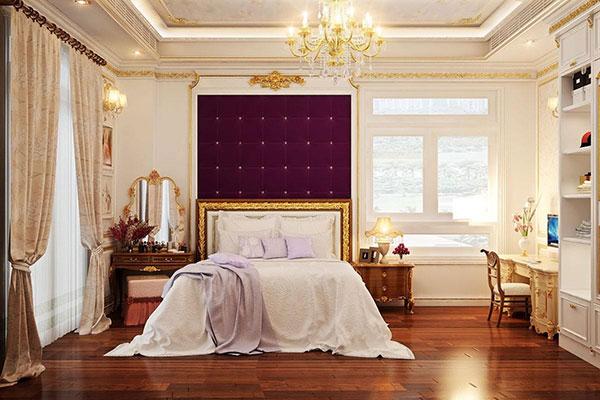 Nội thất phòng ngủ tân cổ điển thường lấy màu trắng và màu vàng làm chủ đạo