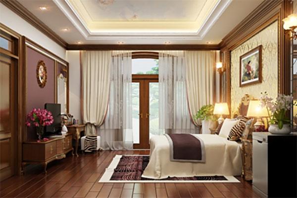 Chất liệu gỗ tự nhiên cao cấp trong phòng ngủ tân cổ điển