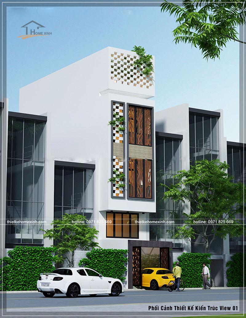 Phối cảnh mặt tiền thiết kế nhà phố 4x13m