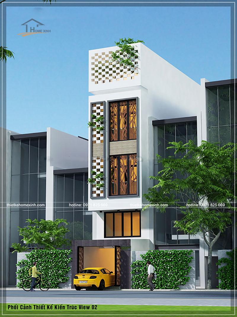 Phối cảnh thiết kế kiến trúc nhà phố 4x13m view 2