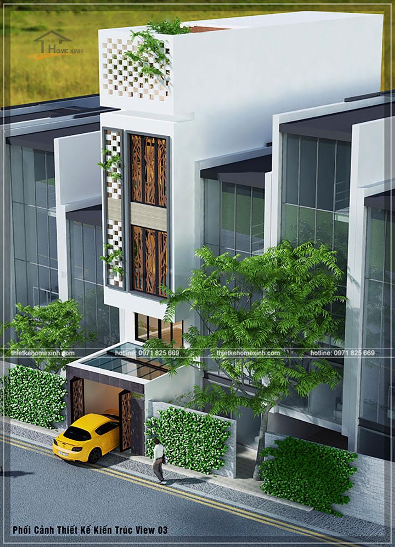 Phối cảnh thiết kế kiến trúc nhà phố 4x13m View 3