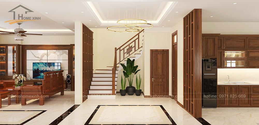 Cầu thang ngăn cách phòng khách và phòng bếp