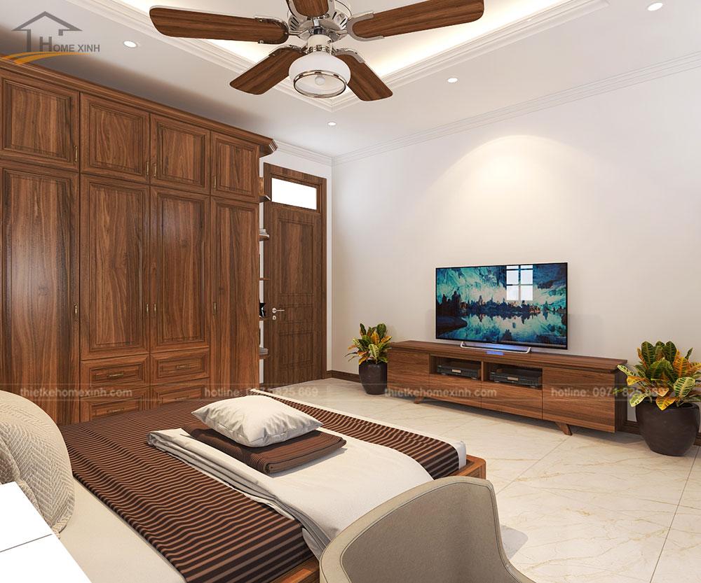 Phòng ngủ nhà phố được thiết kế đầy đủ tiện nghi