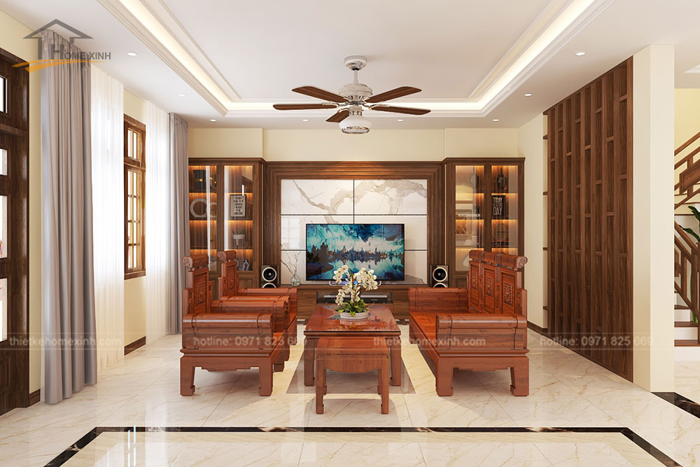Toàn cảnh thiết kế nội thất phòng khách nhà phố tại Bắc Ninh