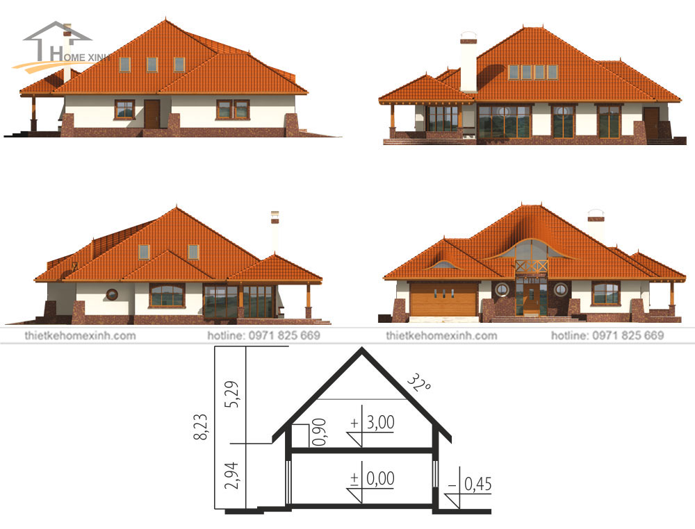drawings of 2-storey garden house designs in the countryside - sections