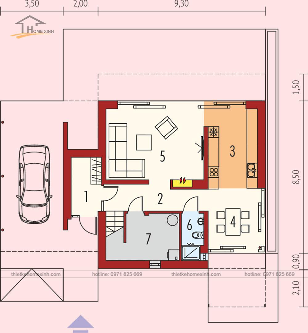 bản vẽ tầng 1 thiết kế nhà vườn 2 tầng hiện đại tại vĩnh phúc 137m2