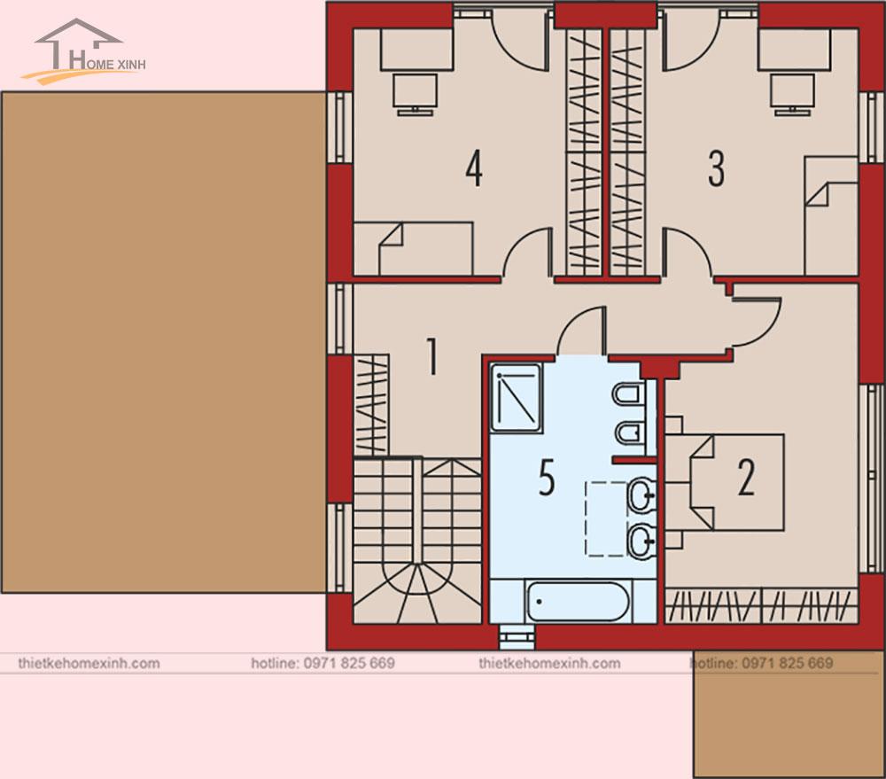 bản vẽ tầng 2 thiết kế nhà vườn 2 tầng hiện đại tại vĩnh phúc 137m2