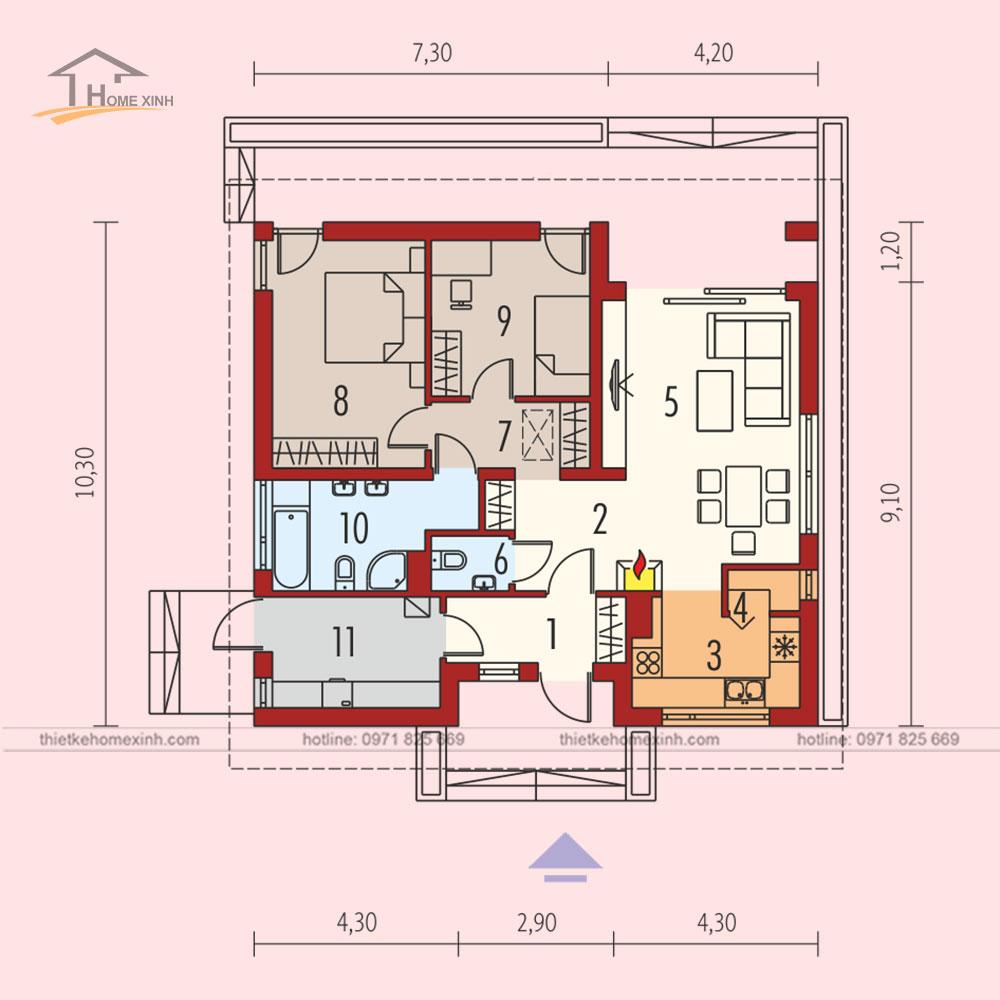 Bản vẽ thiết kế nhà vườn cấp 4 tại Thái Nguyên