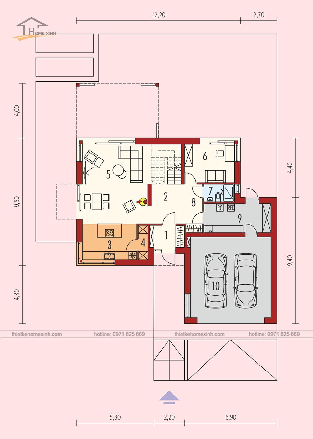 Bản vẽ thiết kế nhà vườn mái thái hiện đại tại Hòa Bình - tầng 1