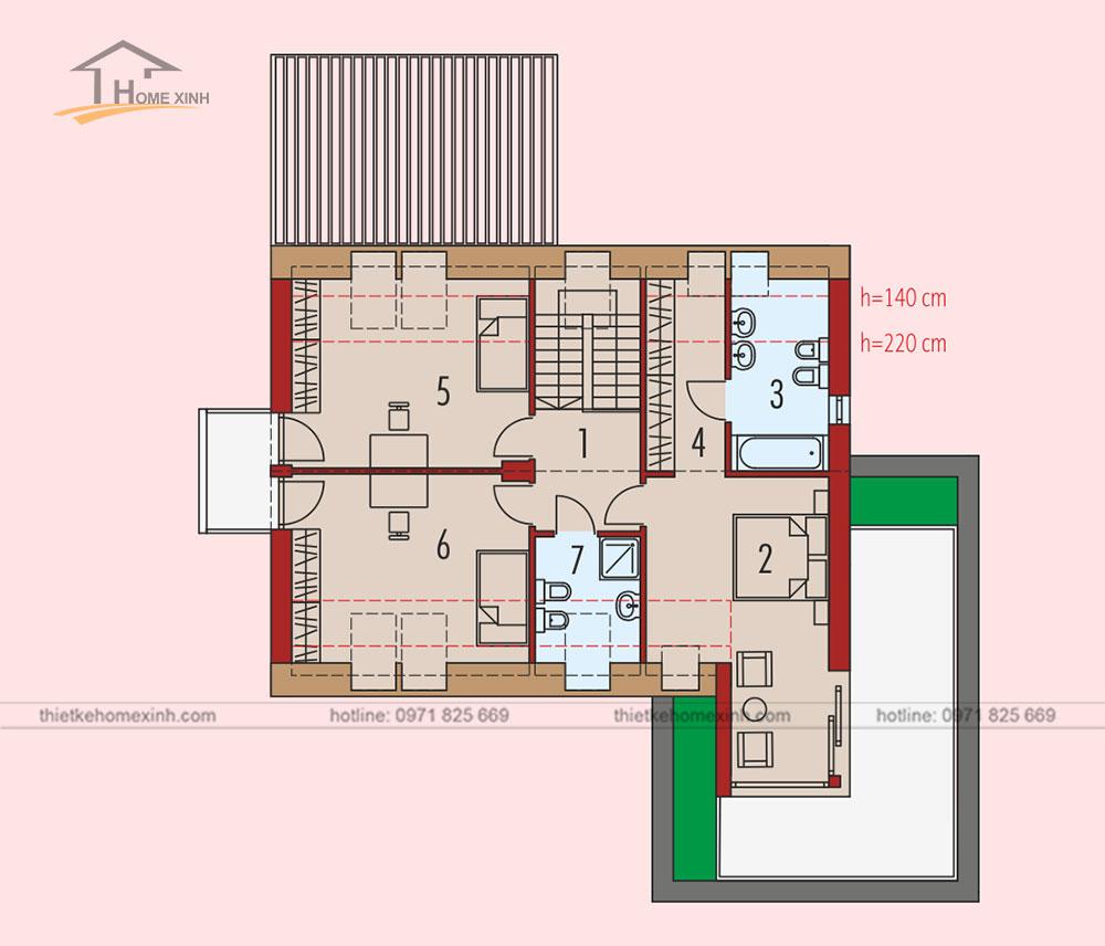 Bản vẽ thiết kế nhà vườn mái thái hiện đại tại Hòa Bình - tầng 2
