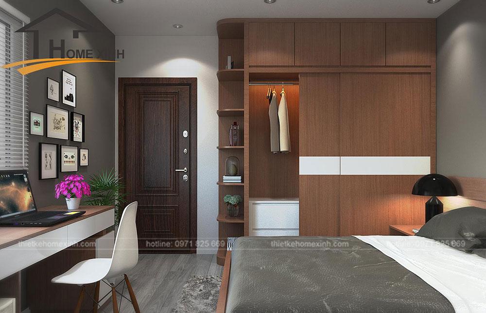 nội thất phòng ngủ master căn hộ 110m2 tại Rainbow Linh Đàm 1