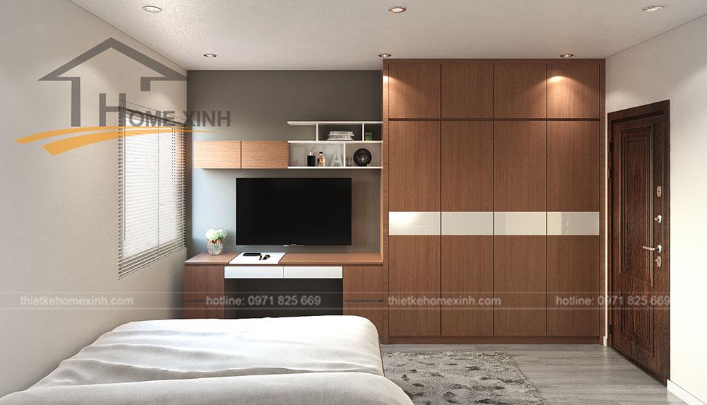 nội thất phòng ngủ nhỏ căn hộ 110m2 tại Rainbow Linh Đàm 2