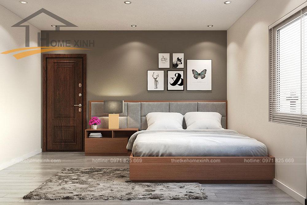 nội thất phòng ngủ nhỏ căn hộ 110m2 tại Rainbow Linh Đàm 1