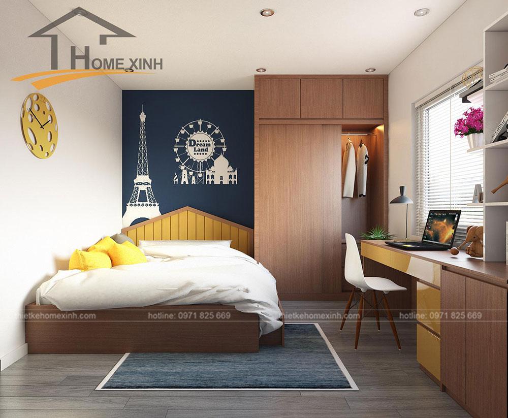 nội thất phòng ngủ trẻ em căn hộ 110m2 tại Rainbow Linh Đàm 3