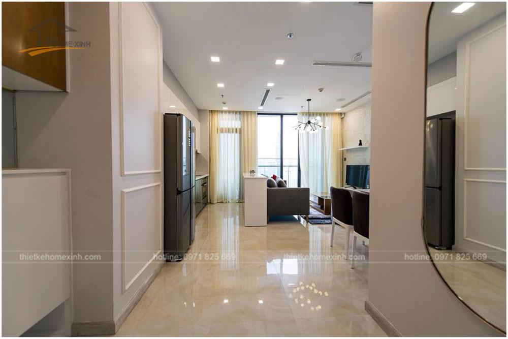 sảnh vào căn hộ chung cư 65m2 tai vinhomes golden river