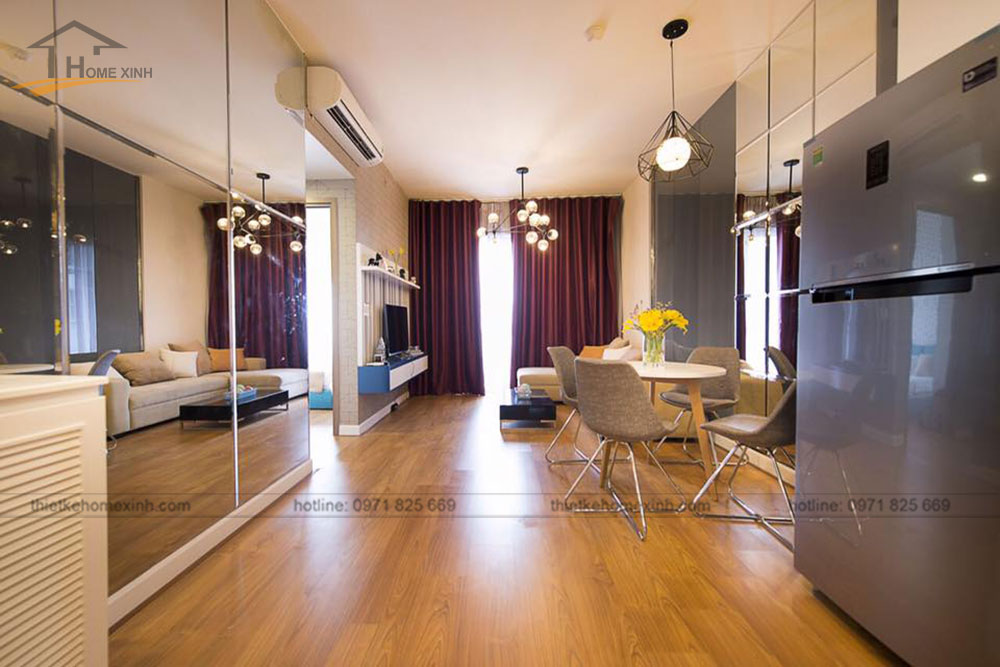 thi công nội thất căn hộ 80m2 tại vicoland hải châu - phòng khách 1