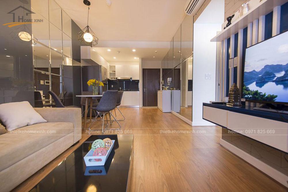 thi công nội thất căn hộ 80m2 tại vicoland hải châu - phòng khách 2