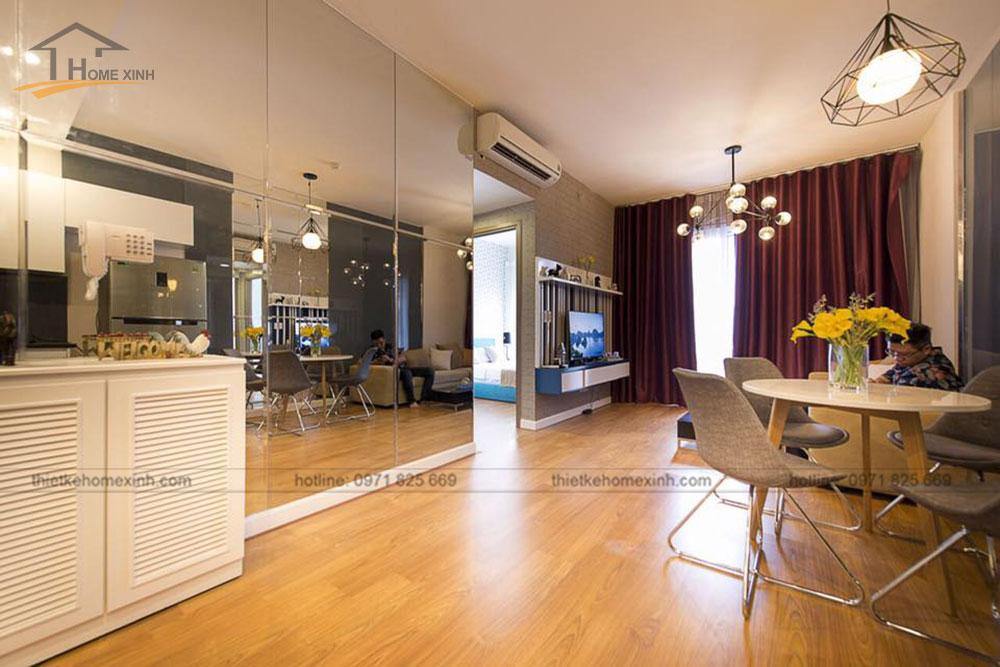thi công nội thất căn hộ 80m2 tại vicoland hải châu - phòng khách 3