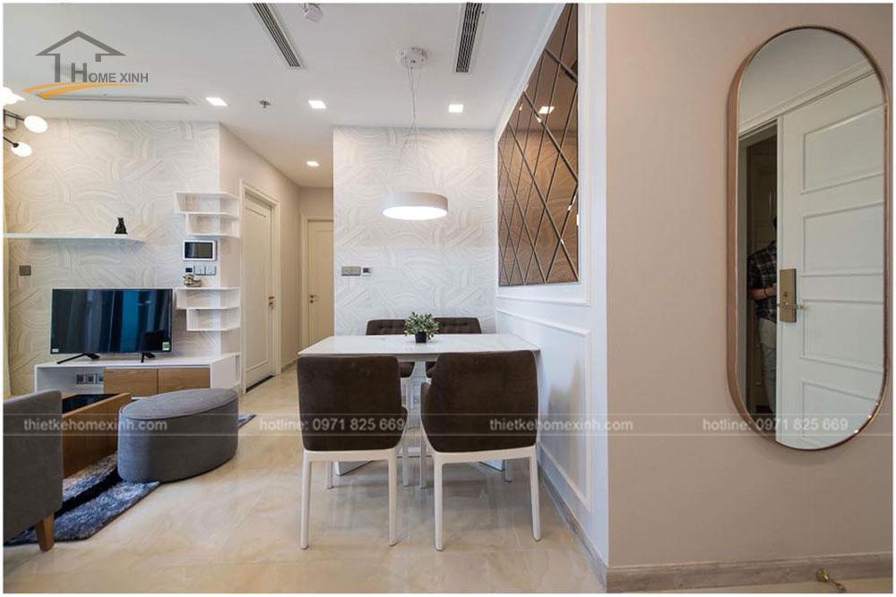 thiết kế bàn ăn chung cư 65m2 tại vinhomes golden river 2