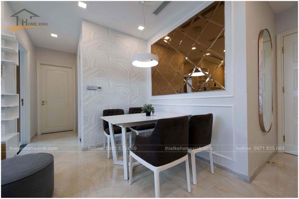 thiết kế bàn ăn chung cư 65m2 tại vinhomes golden river 1