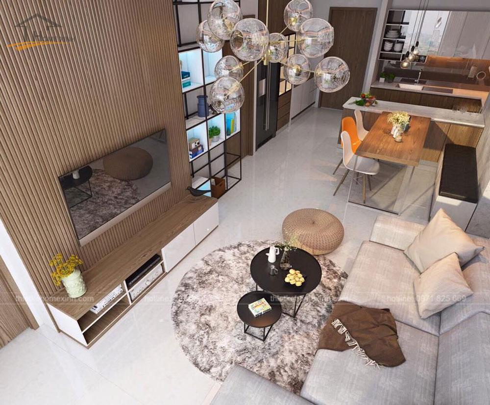 Thiết kế phòng khách căn hộ 70m2 tại chung cư Hòa Bình Green Đà Nẵng
