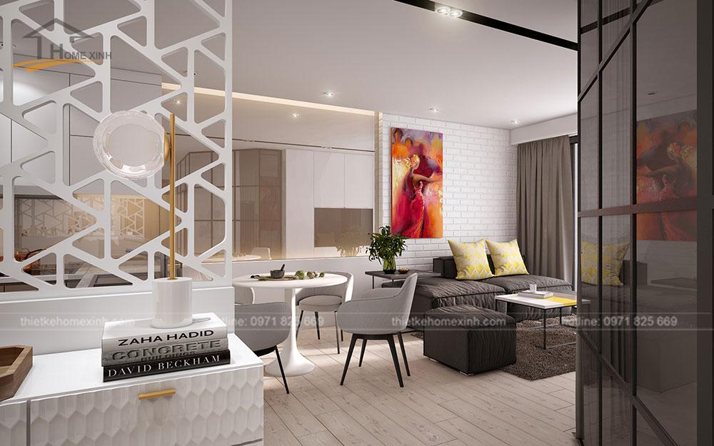 thiết kế căn hộ tại chung cư kingston residence 110m2 - phòng khách liền bếp